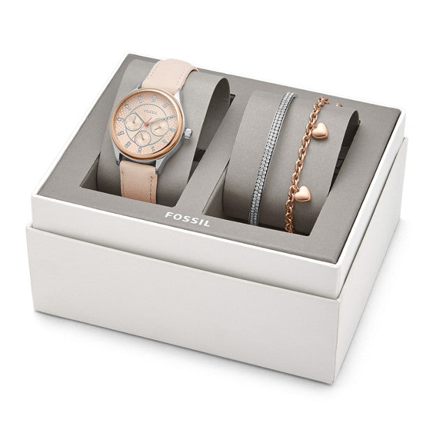 Fossil BQ3198SET Modern Shopisticate Multifunction Nude Leather Watch And Jewelry Gift Set