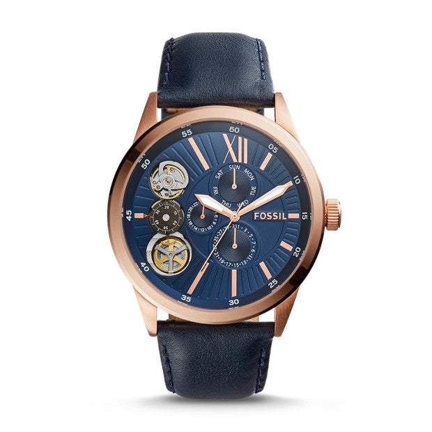 Fossil Bq2219 Watch Flynn Mechanical Navy Leather Watch