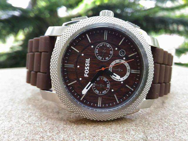 Fossil Machine Wood Print Chronograph Men's Watch