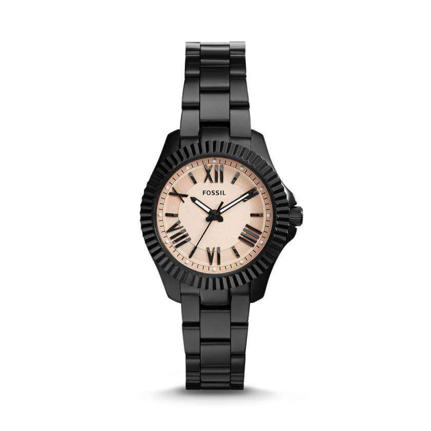 Fossil AM4614 Cecile Rose Dial Black Ion-plated Ladies Watch