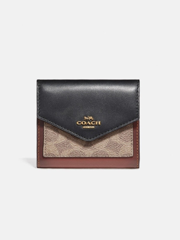 Coach 32610 Small Wallet In Colorblok Signature Tan Black