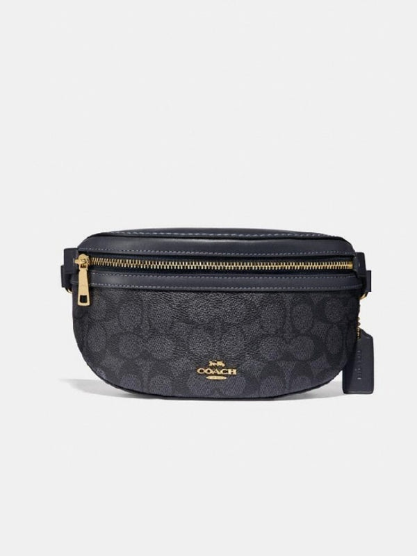 Coach 39937 Belt Canvas Signature Charcoal Midnight Navy