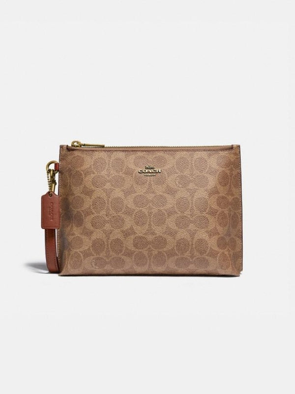 Coach 68332 Charlie Pouch In Signature Colorblok Tan Rust