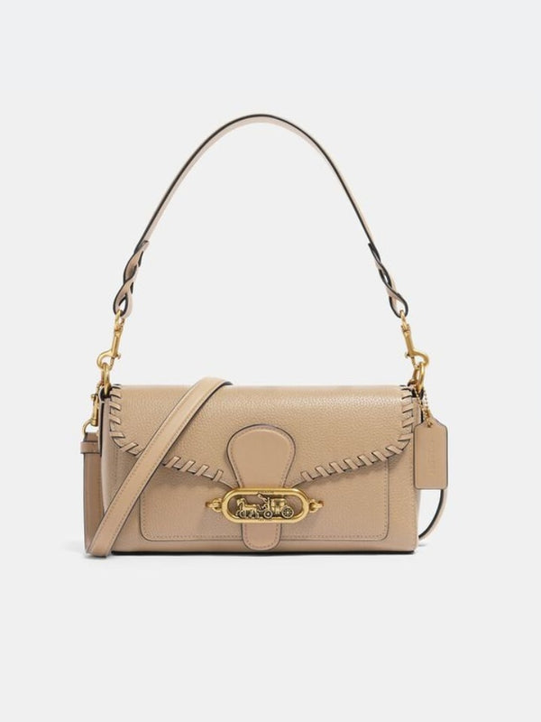 Coach 91025 Jade Shoulder Bag Leather Whipstitch Taupe
