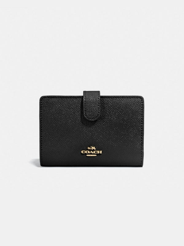 Coach F11484 Medium Corner Crossgrain Leather Black