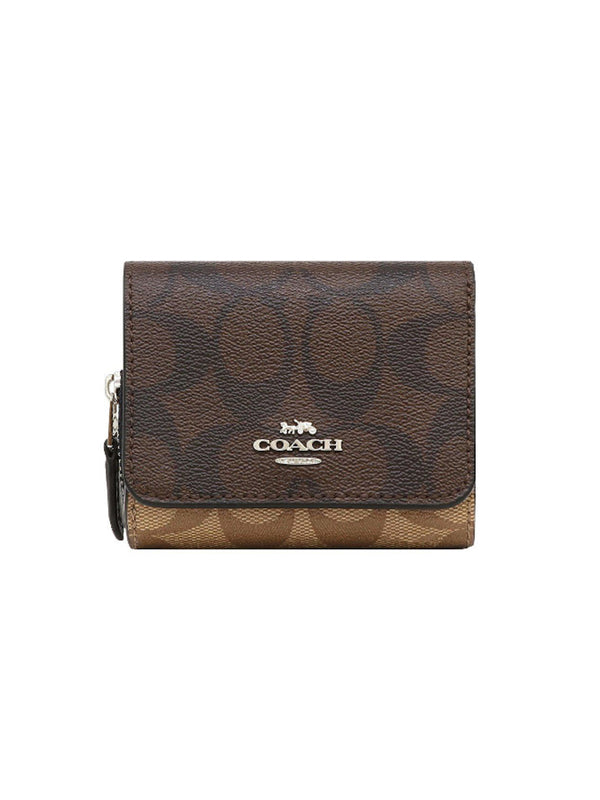 Coach F78081 Small Trifold Wallet Signature Brown Midnight