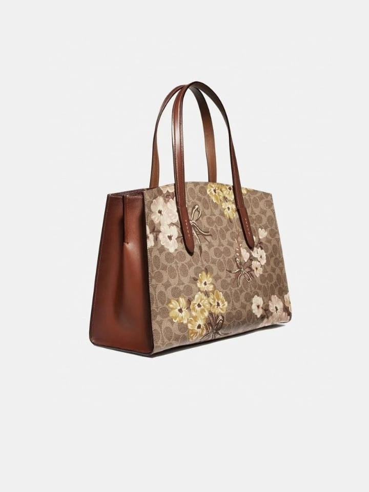 Coach 54650  Signature Charlie Prie Tan Rust Bow