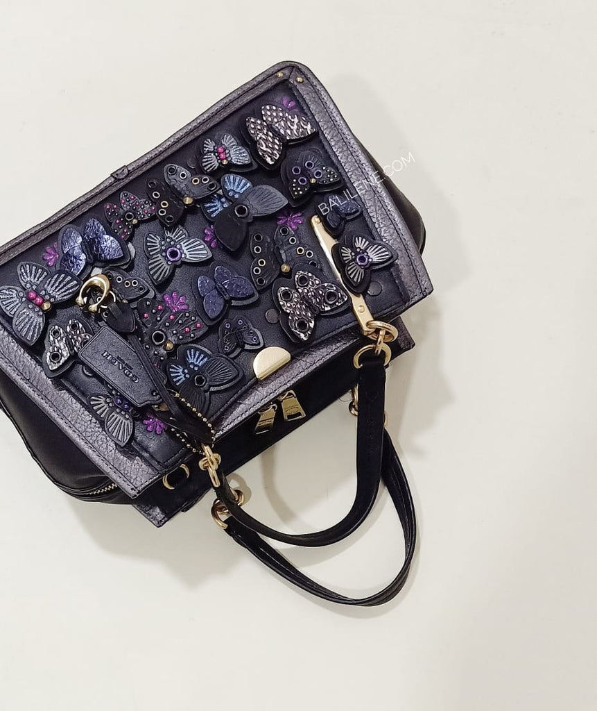 Coach 72614 Dreamer With Butterfly Applique And Snakeskin Black Multi