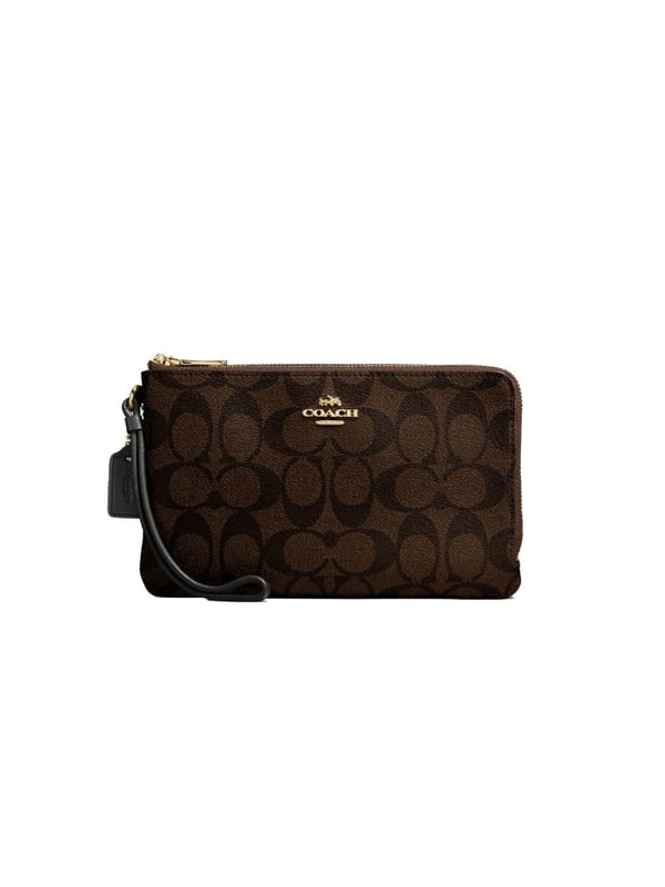 Coach 87591 Signature Double Zip Small Wrislet Brown Black