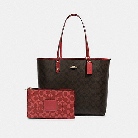 Coach 91381 Reversible City Tote Signature Brown Black Multi