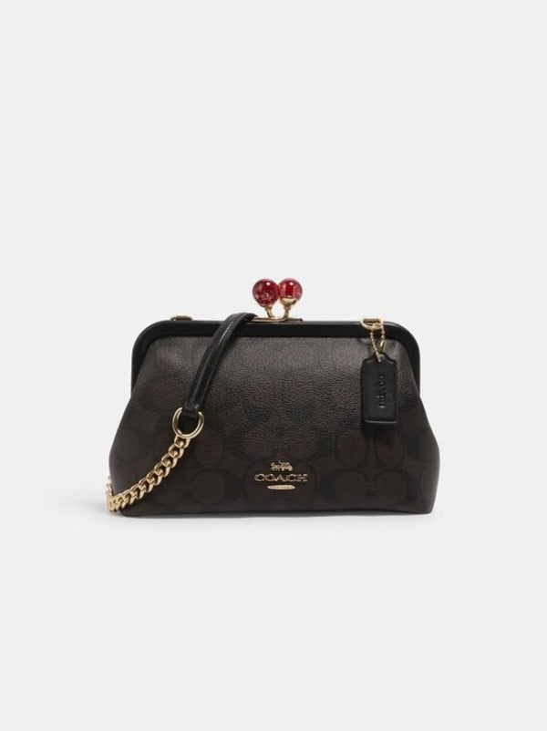 Coach C1452 Nora Kisslock Signature Brown Black