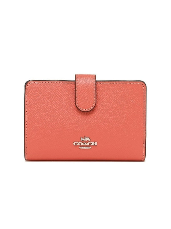 Coach F11484 Medium Corner Crossgrain Leather Coral