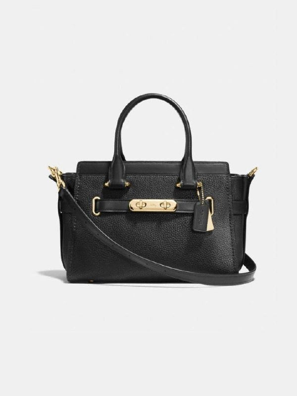 Coach F87295 Swagger 27 Pebble Leather Carryall Black