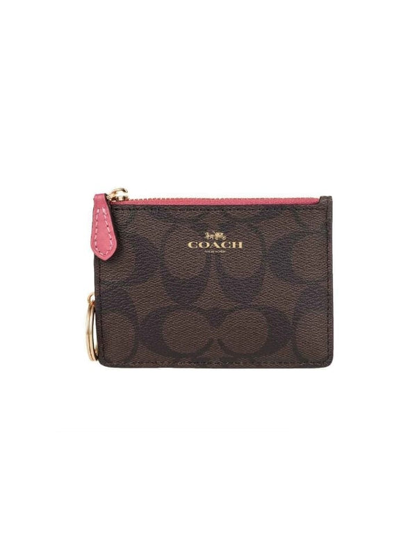 Coach F16107 Signature PVC Mini ID Skinny Brown Black Ruby