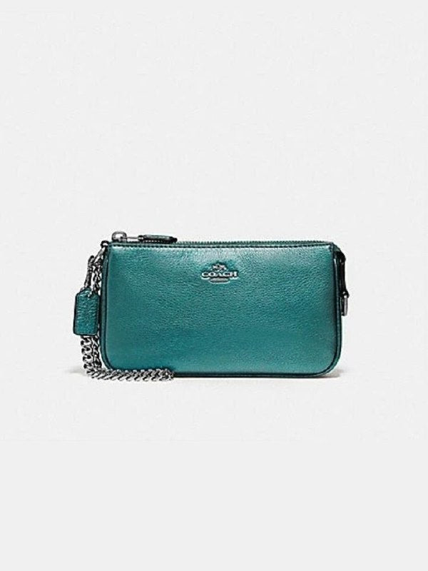 Coach F20151 Large Wrislet Pabbled Leather Metallic Dark Teal