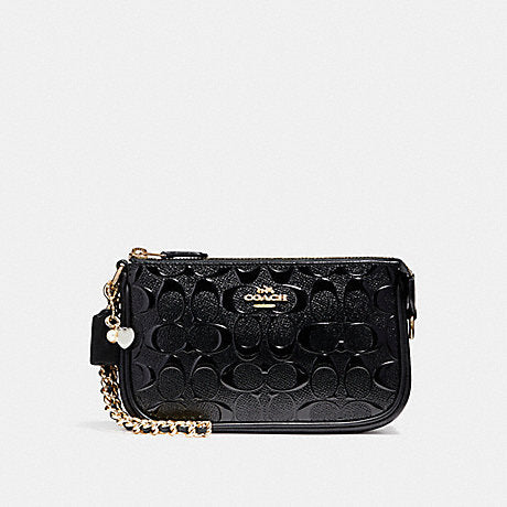 Coach F22698 Signature Debossed Large Wrislet 19 With Chain Black