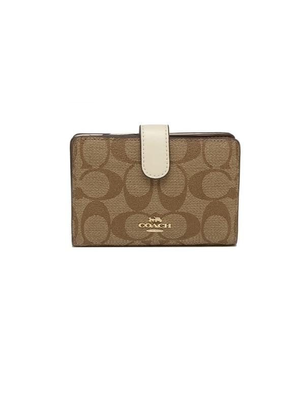 Coach F23553 Medium Corner Zip Wallet In Crossgrain Leather Khaki Chalk