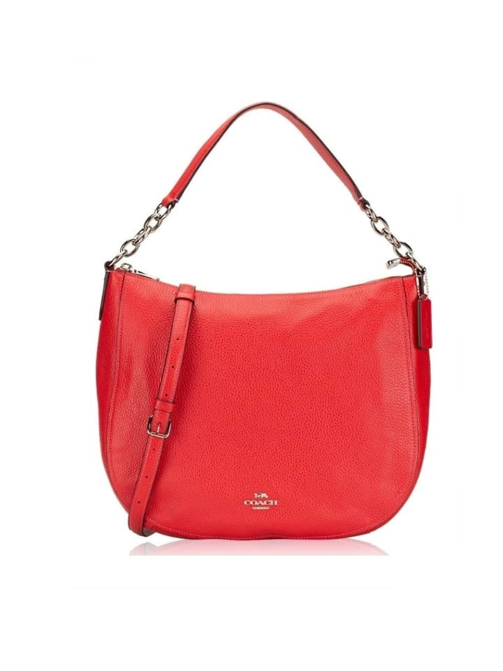 Coach F31399 Pebbled Leather Elle Hobo Bright Red Womens