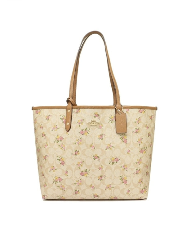 Coach F31776 Reversible City Zip Tote In Signature Canvas With Daisy Bundle Print Light Khaki/Multi