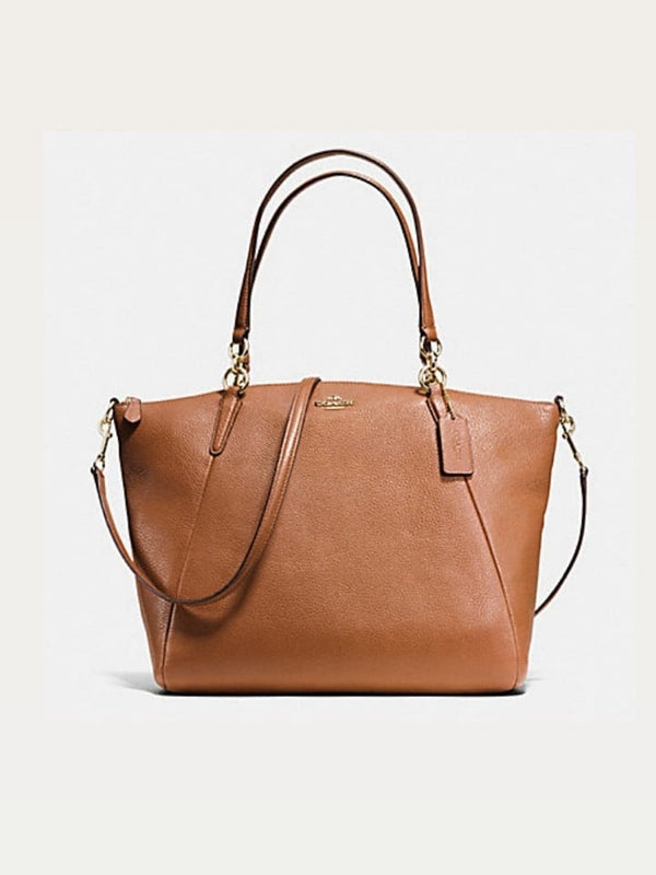 Coach F36591 Kelsey Satchel In Pabbled Leather Saddle