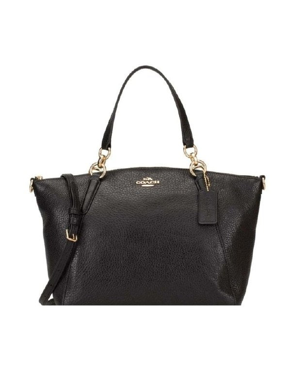 Coach F36675 Pebble Leather Small Kelsey Black Gold