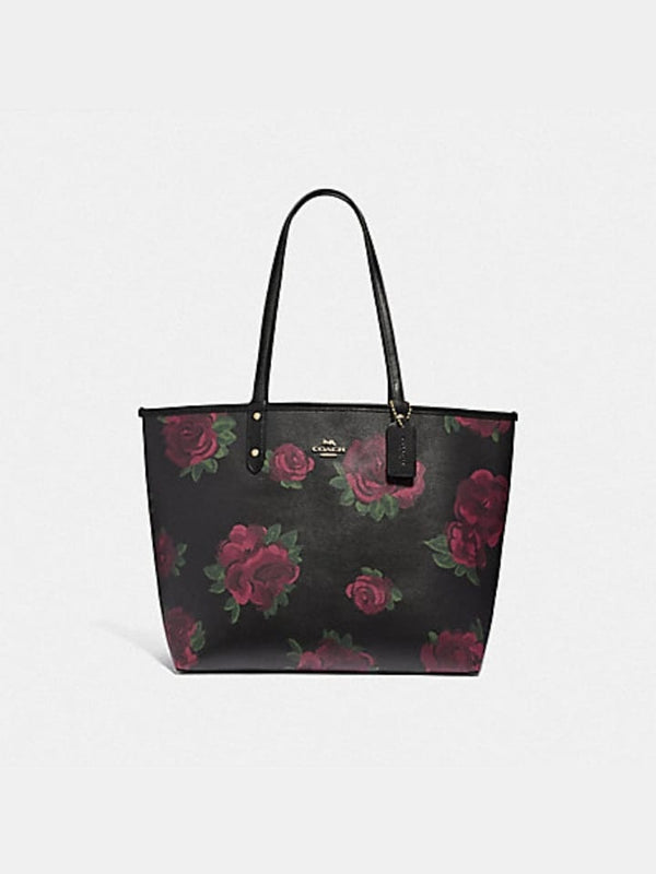 Coach F45317 Reversible City Tote With Jumbo Floral Print Black Multi