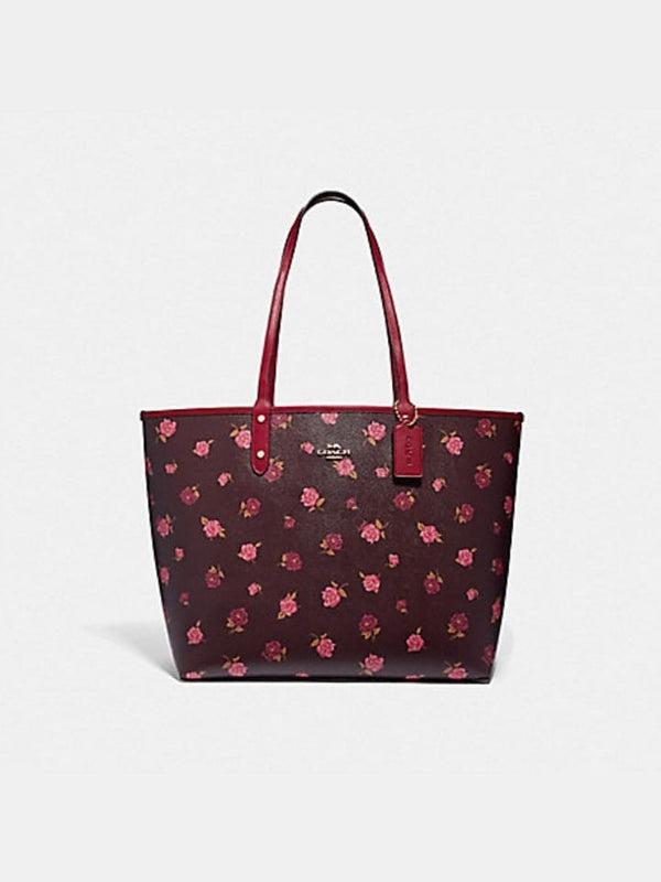 Coach F46286 Reversible City Tote With Tossed Peony Print Oxblood Cherry Multi