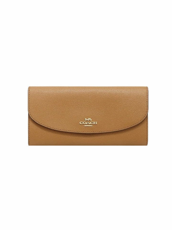 Coach F54009 Slim Envelope Crossgrain Leather Light Saddle