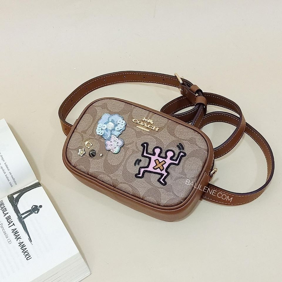 Coach F55644 Keith Haring Convertible Belt Bag In Signature Canvas With Patches Khaki Multi