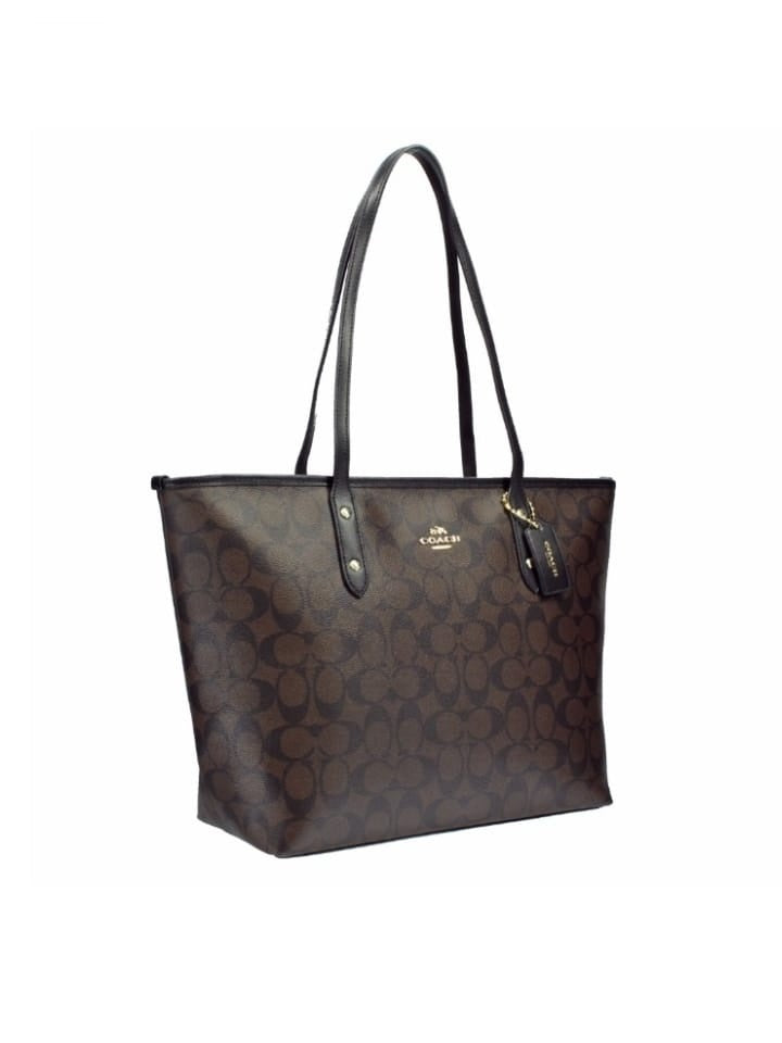 Coach F58292 Signature City Zip Tote Dark Brown