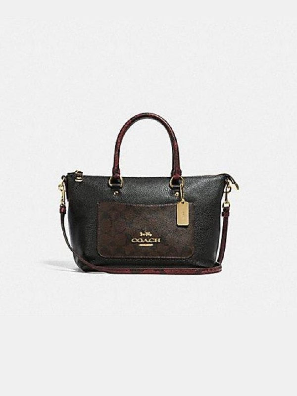 Coach F34281 Mini Emma Satchel Signature Colorblock Brown Black