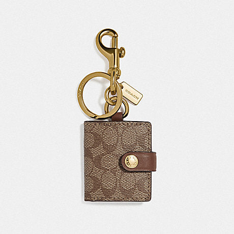 Coach F77675 Frame Bag Charm In Signature Canvas Khaki Gold