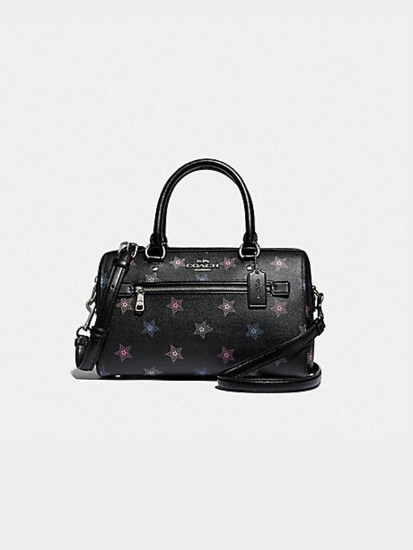 Coach F84722 Rowan Satchel With Dot Star Print Black Multi