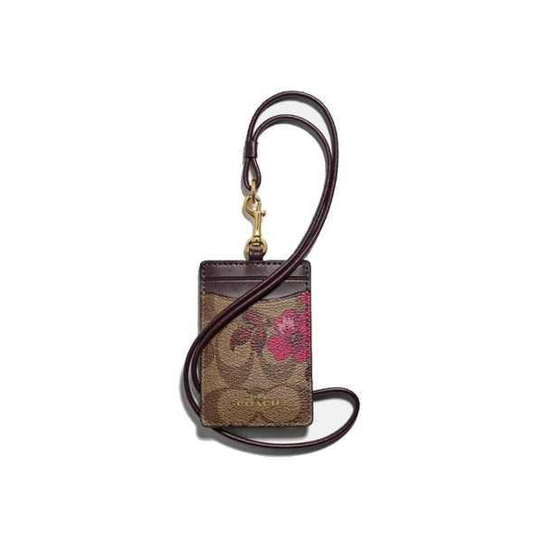 Coach F88058 Lanyard Id Case Signature Canvas With Victorian Floral Print Berry Multi