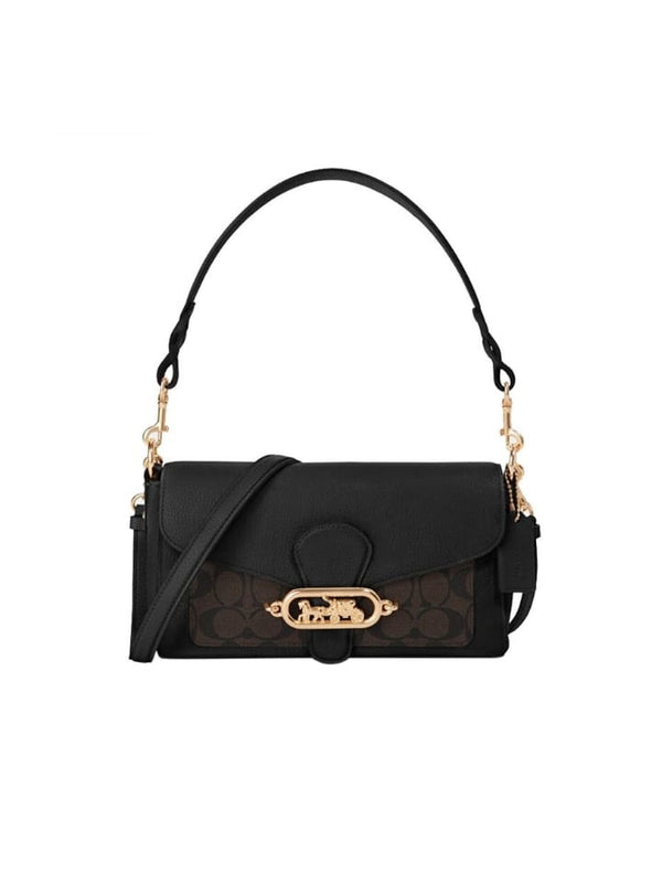 Coach F90782 Jade Shoulder Bag Pabbled Leather Brown Black