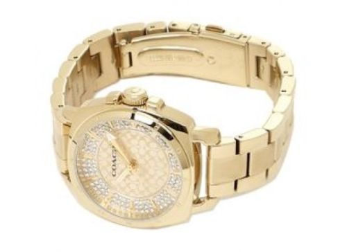 Coach 14501994 Mini Boyfriend Gold Tone Stainless Pave Crystal Glitz Watch