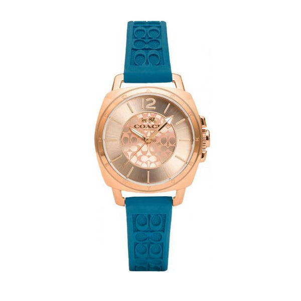 Coach 14502095 Mini Boyfriend Rose Gold Dial Blue Silicone Strap Watch