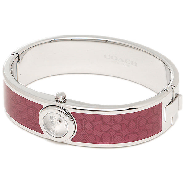 Coach 14502621 Women Scout Stainless Steel Red Cerise Silver Watch Bangle