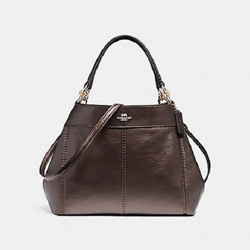 Coach 29174 Small Lexy Shoulder Bag Tote Metallic Pebble Leather Bronze