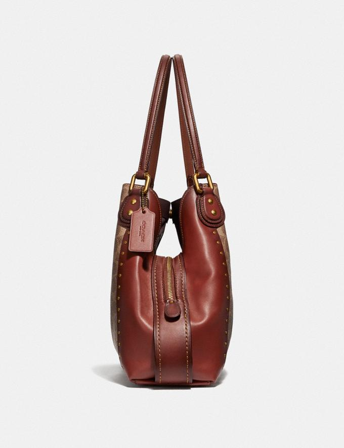 Coach 30220 Edie Signature Shoulder Bag 31 Rivets Rust