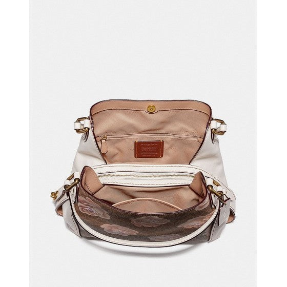 Coach 31699 Edie Signature Rose Print Tan Chalk