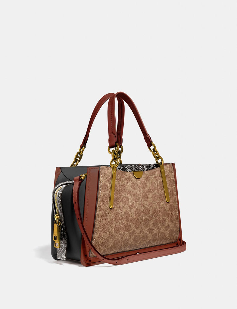 Coach 38846 Dreamer 27 Signature Tan Black Multi