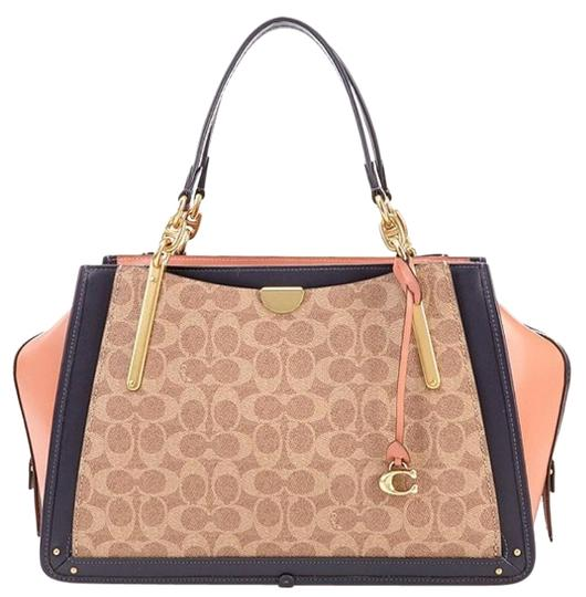 Coach 69588 Canvas Signature Colorblock Dreamer 31 Tan/peach Satchel
