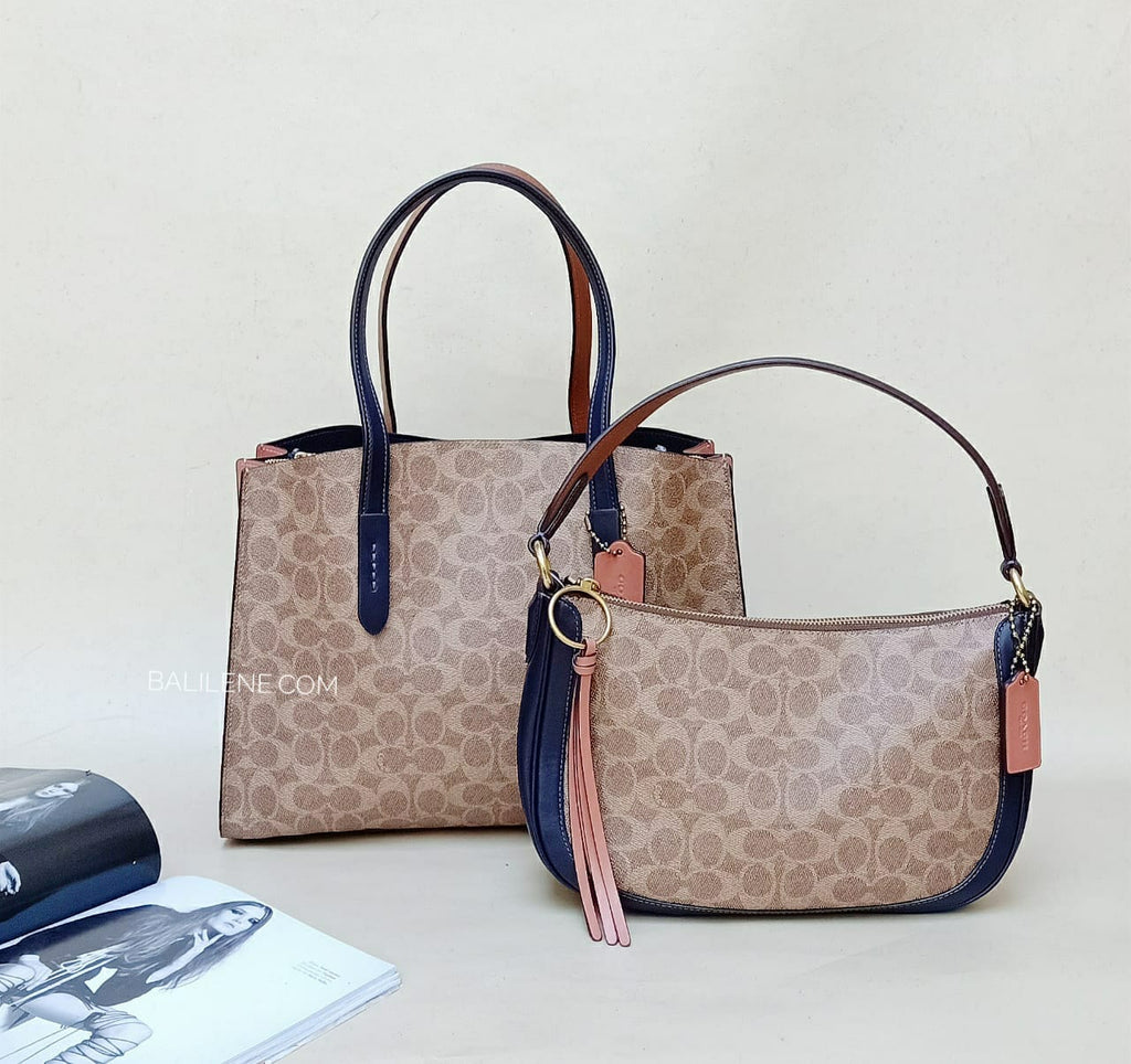 Coach 69481 Handbag Sig Charlie Tan Ink Light Peach