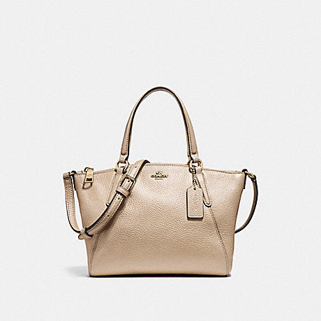 Coach F22316 Metallic Pebble Leather Mini Kelsey Platinum