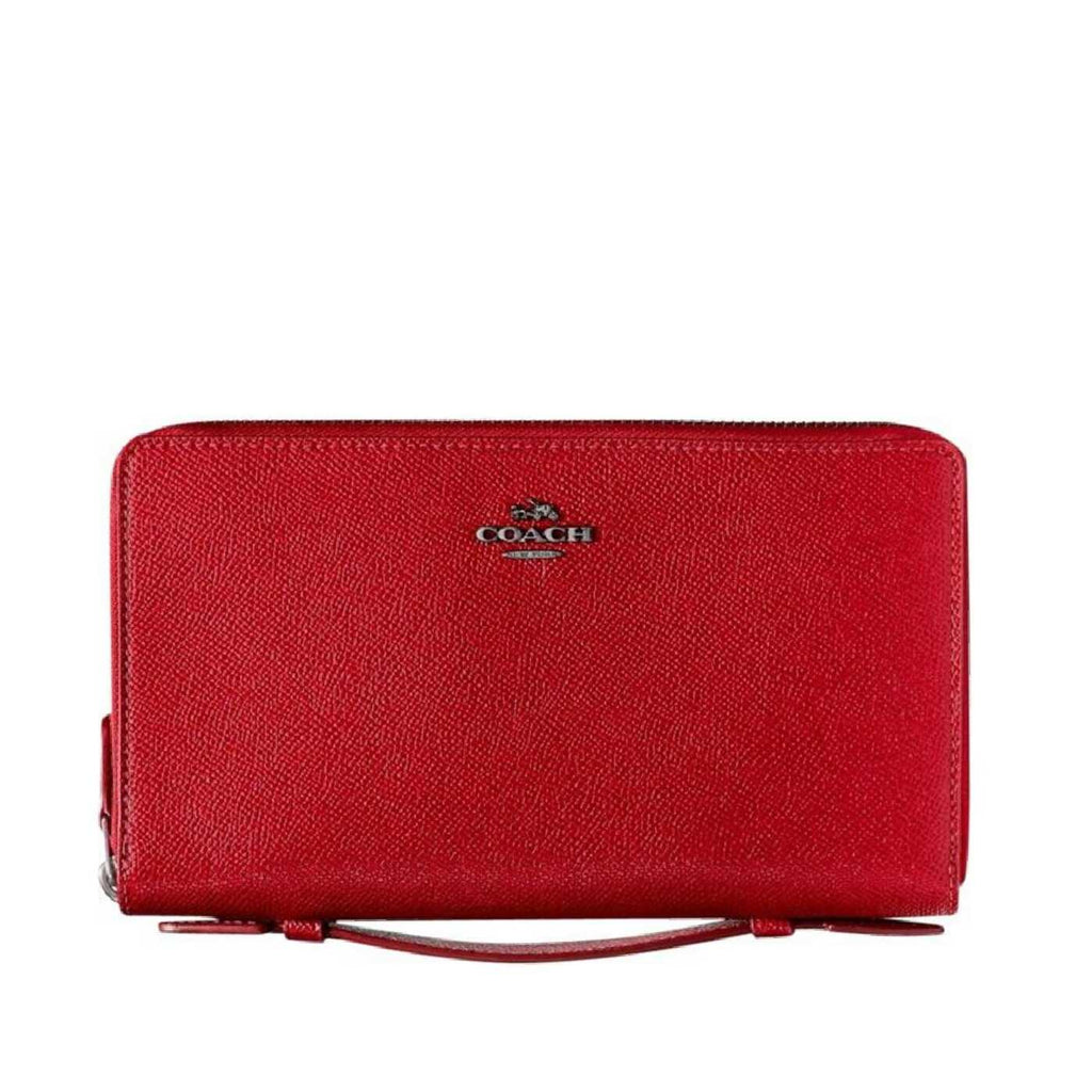 Coach F23334 Crossgrain Leather Double Zip Travel Wallet True Red