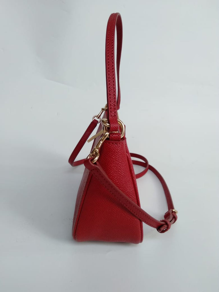 Coach F25591 Crossgrain Top Handle Pouch True Red