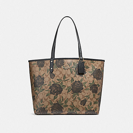 Coach F25874 Reversible City Tote With Camo Rose Floral Print