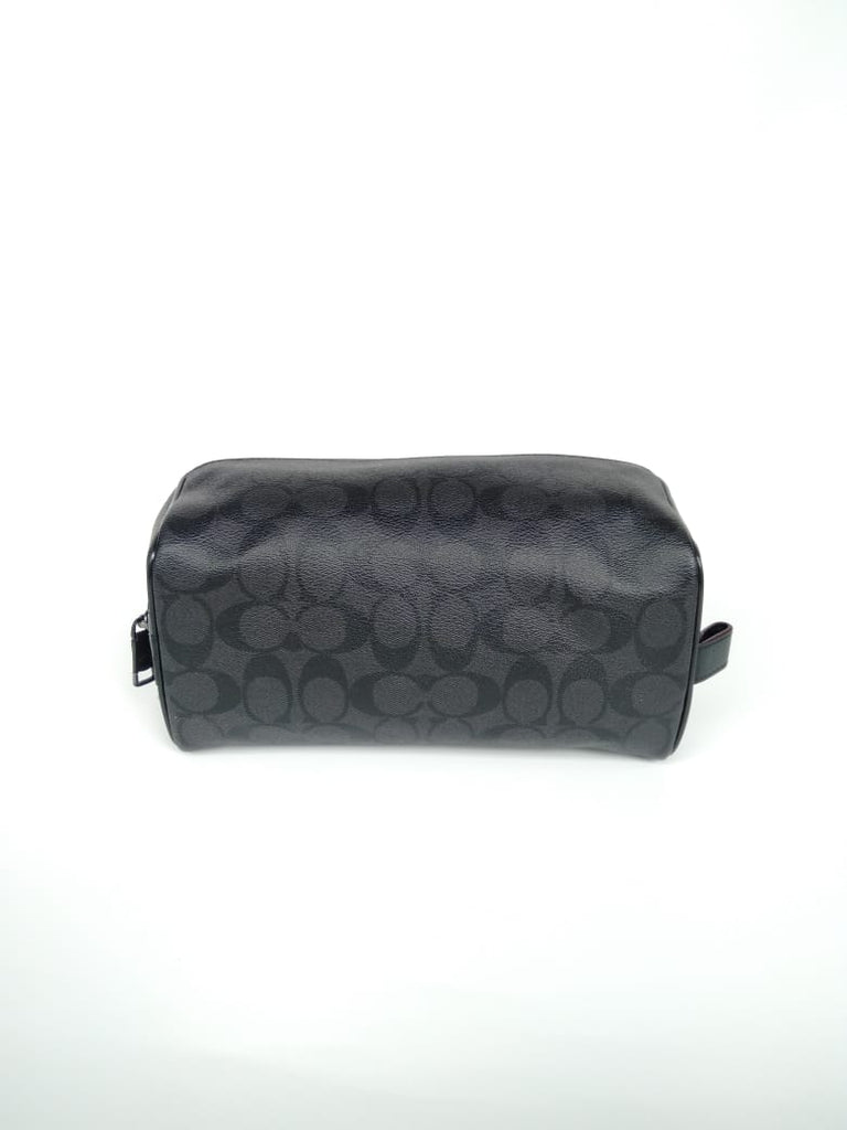 Coach F26073 Travel Kit In Signature Canvas Black Oxblood