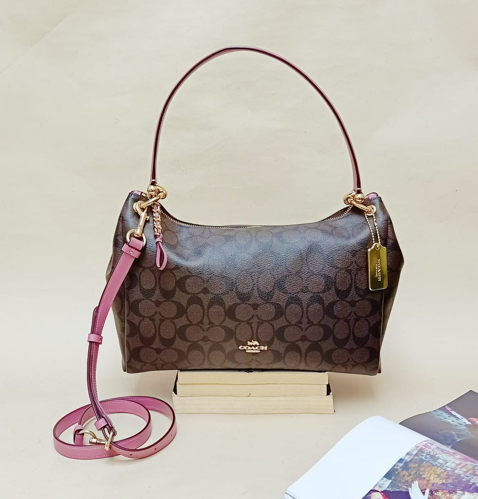 Coach F28967 Mia Signature Brown Pink Rose